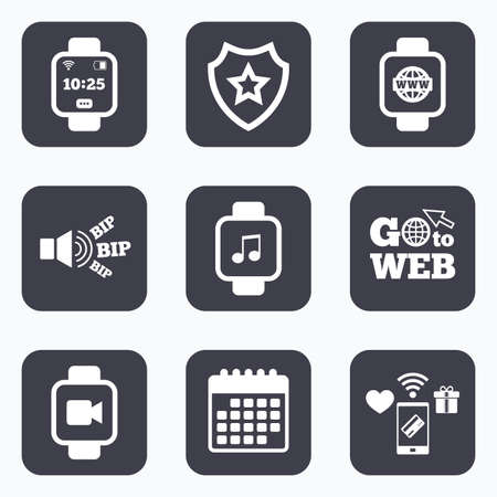 watch video: Mobile payments, wifi and calendar icons. Smart watch icons. Wrist digital time watch symbols. Music, Video, Globe internet and wi-fi signs. Go to web symbol.