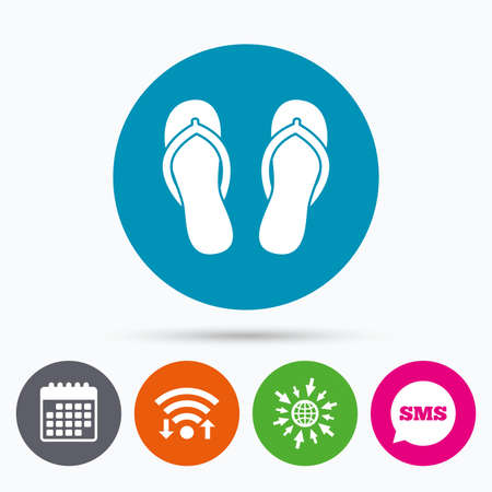 sandals: Wifi, Sms and calendar icons. Flip-flops sign icon. Beach shoes. Sand sandals. Go to web globe.
