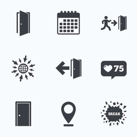 protection icon: Calendar, like counter and go to web icons. Doors icons. Emergency exit with human figure and arrow symbols. Fire exit signs. Location pointer.