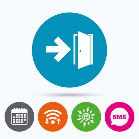 fire exit: Wifi, Sms and calendar icons. Emergency exit sign icon. Door with right arrow symbol. Fire exit. Go to web globe.