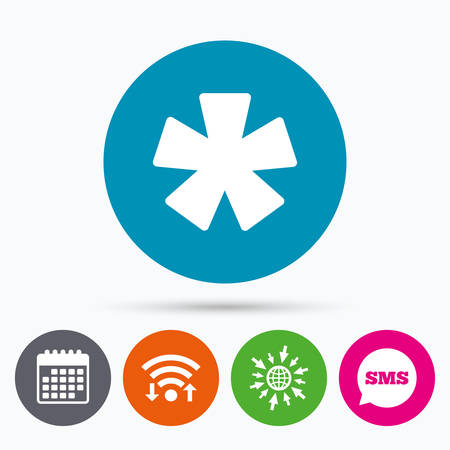 more information: Wifi, Sms and calendar icons. Asterisk footnote sign icon. Star note symbol for more information. Go to web globe.