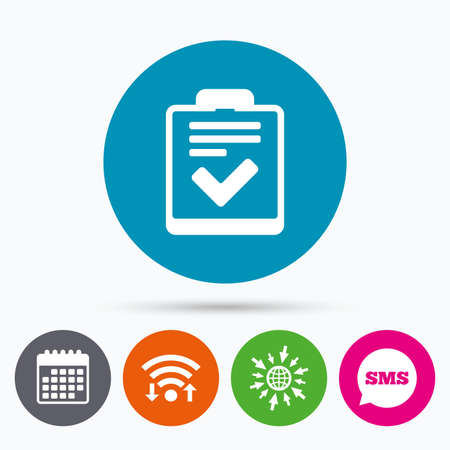 feedback form: Wifi, Sms and calendar icons. Checklist sign icon. Control list symbol. Survey poll or questionnaire feedback form. Go to web globe.