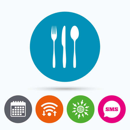 tablespoon: Wifi, Sms and calendar icons. Fork, knife, tablespoon sign icon. Cutlery collection set symbol. Go to web globe. Illustration