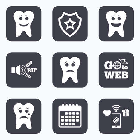 stomatologist: Mobile payments, wifi and calendar icons. Tooth happy, sad and crying faces icons. Dental care signs. Healthy or unhealthy teeth symbols. Go to web symbol.