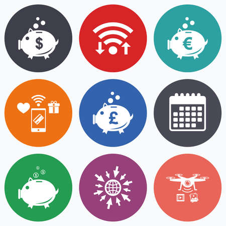 Wifi, mobile payments and drones icons. Piggy bank icons. Dollar, Euro and Pound moneybox signs. Cash coin money symbols. Calendar symbol.