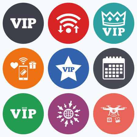very important person: Wifi, mobile payments and drones icons. VIP icons. Very important person symbols. King crown and star signs. Calendar symbol.