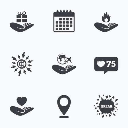 カウンターのようなカレンダー、web アイコンに進みます。救いの手のアイコン。健康と旅行旅行保険記号。ギフト プレゼントの箱のサイン。防火します。場所のポインター。