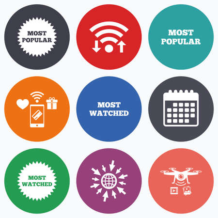 most: Wifi, mobile payments and drones icons. Most popular star icon. Most watched symbols. Clients or users choice signs. Calendar symbol.