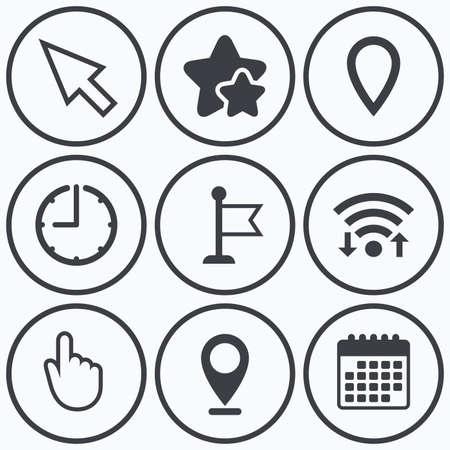 시계, wifi 및 별 아이콘입니다. 마우스 커서 아이콘입니다. 손 또는 깃발 포인터 기호. 위치 마커 기호를 매핑합니다. 달력 기호입니다.