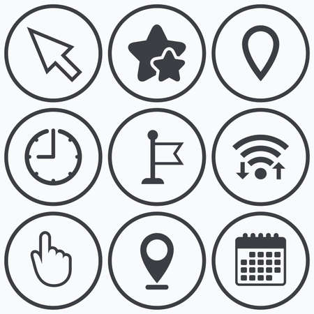 Clock, wifi and stars icons. Mouse cursor icon. Hand or Flag pointer symbols. Map location marker sign. Calendar symbol.