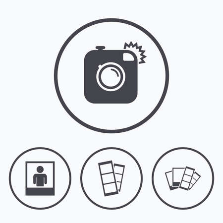 Hipster icona della macchina fotografica. Flash simbolo di luce. Photo Booth strisce firmare. cornice ritratto umano. Icone in tondo.