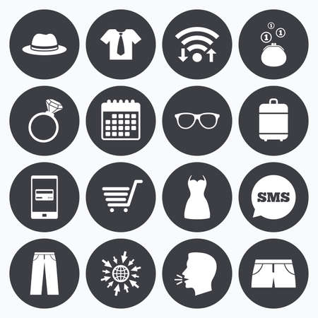 mobile accessories: Wifi, calendar and mobile payments. Clothes, accessories icons. Shirt, glasses and hat signs. Wallet with cash coins symbols. Sms speech bubble, go to web symbols. Illustration