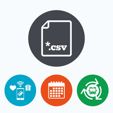csv: File document icon. Download tabular data file button. CSV file extension symbol. Mobile payments, calendar and wifi icons. Bus shuttle. Illustration