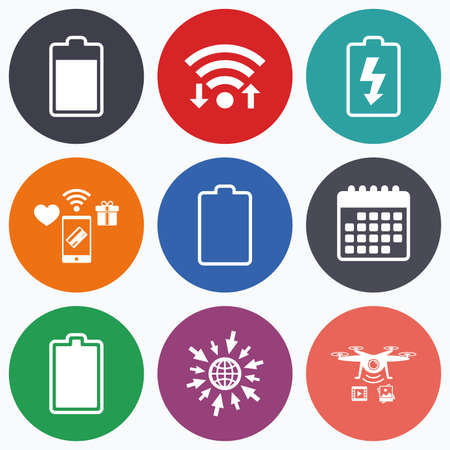 stored: Wifi, mobile payments and drones icons. Battery charging icons. Electricity signs symbols. Charge levels: full, empty. Calendar symbol.