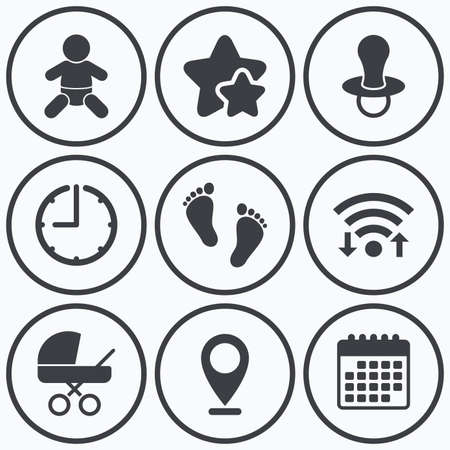 infants: Clock, wifi and stars icons. Baby infants icons. Toddler boy with diapers symbol. Buggy and dummy signs. Child pacifier and pram stroller. Child footprint step sign. Calendar symbol.