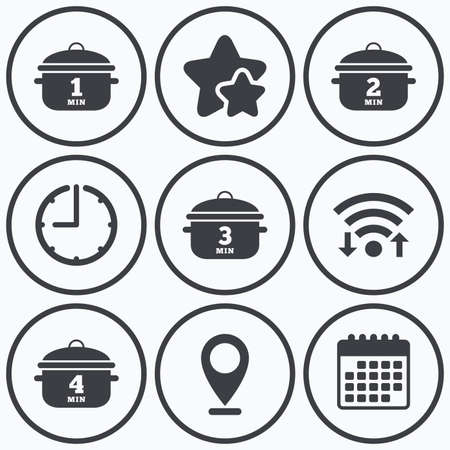 boil: Clock, wifi and stars icons. Cooking pan icons. Boil 1, 2, 3 and 4 minutes signs. Stew food symbol. Calendar symbol.