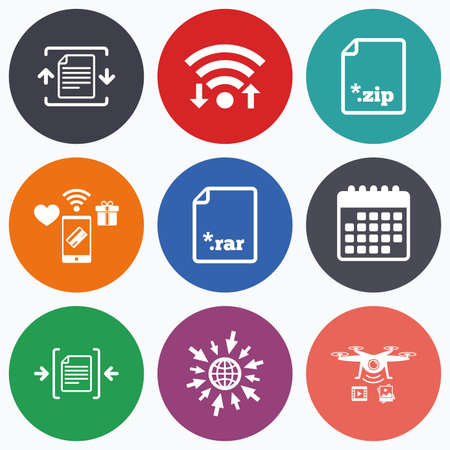 zipped: Wifi, mobile payments and drones icons. Archive file icons. Compressed zipped document signs. Data compression symbols. Calendar symbol. Illustration