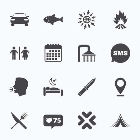 gents: Calendar, go to web and like counter. Hiking travel icons. Camping, shower and wc toilet signs. Tourist tent, fork and knife symbols. Sms speech bubble, talk symbols. Illustration
