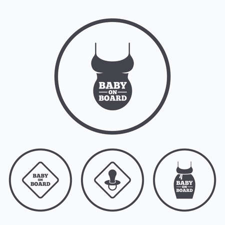 big belly: Baby on board icons. Infant caution signs. Child pacifier nipple. Pregnant woman dress with big belly. Icons in circles.