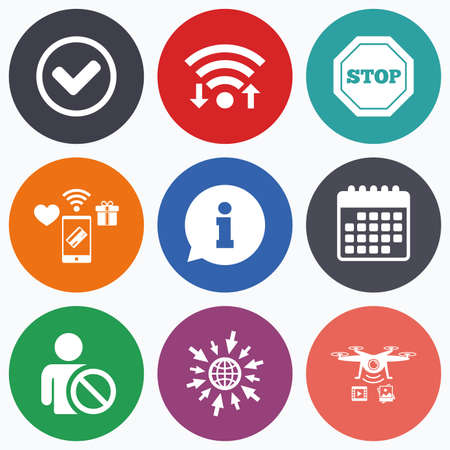 blacklist: Wifi, mobile payments and drones icons. Information icons. Stop prohibition and user blacklist signs. Approved check mark symbol. Calendar symbol.