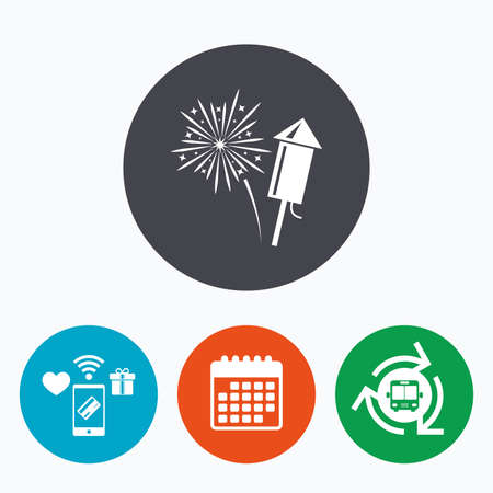 explosive sign: Fireworks with rocket sign icon. Explosive pyrotechnic symbol. Mobile payments, calendar and wifi icons. Bus shuttle.