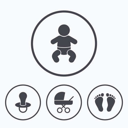 diapers: Baby infants icons. Toddler boy with diapers symbol. Buggy and dummy signs. Child pacifier and pram stroller. Child footprint step sign. Icons in circles.