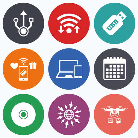 device disc: Wifi, mobile payments and drones icons. Usb flash drive icons. Notebook or Laptop pc symbols. Smartphone device. CD or DVD sign. Compact disc. Calendar symbol.