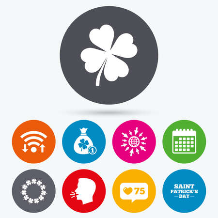 quatrefoil: Wifi, like counter and calendar icons. Saint Patrick day icons. Money bag with coin and clover sign. Wreath of quatrefoil clovers. Symbol of good luck. Human talk, go to web. Illustration