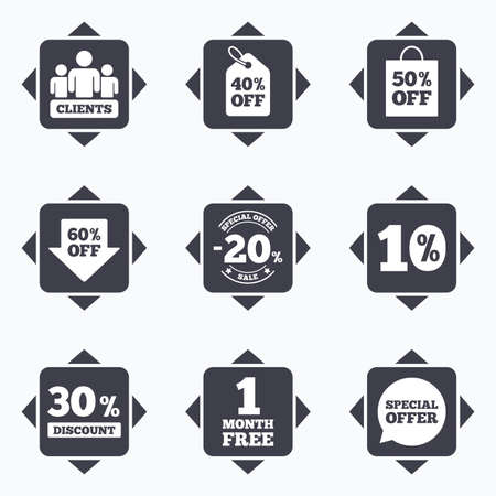 reductions: Icons with direction arrows. Sale discounts icon. Shopping, clients and speech bubble signs. 20, 30, 40 and 50 percent off. Special offer symbols. Square buttons.
