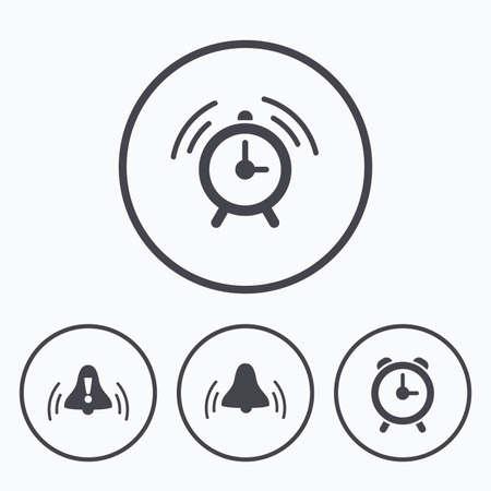 rang: Alarm clock icons. Wake up bell signs symbols. Exclamation mark. Icons in circles. Illustration