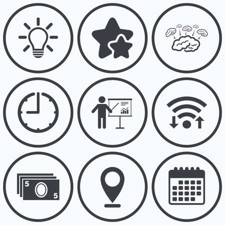 standing lamp: Clock, wifi and stars icons. Presentation billboard, brainstorm icons. Cash money and lamp idea signs. Man standing with pointer. Scheme and Diagram symbol. Calendar symbol.
