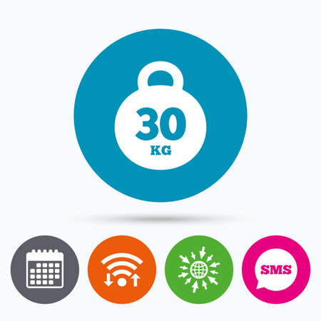 kg: Wifi, Sms and calendar icons. Weight sign icon. 30 kilogram (kg). Sport symbol. Fitness. Go to web globe.