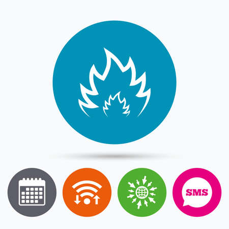 fire escape: Wifi, Sms and calendar icons. Fire flame sign icon. Heat symbol. Stop fire. Escape from fire. Go to web globe. Illustration
