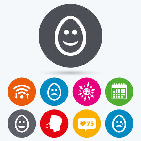 pasch: Wifi, like counter and calendar icons. Eggs happy and sad faces icons. Crying smiley with tear symbols. Tradition Easter Pasch signs. Human talk, go to web.