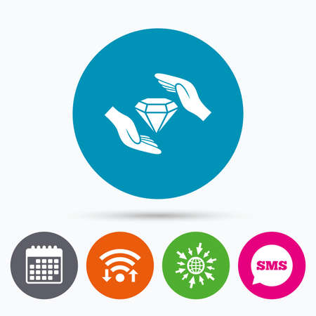 protect globe: Wifi, Sms and calendar icons. Jewelry insurance sign icon. Hands protect cover diamonds symbol. Brilliants insurance. Go to web globe.