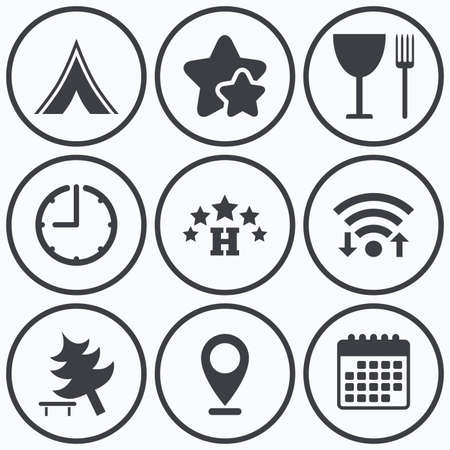 break down: Clock, wifi and stars icons. Food, hotel, camping tent and tree icons. Wineglass and fork. Break down tree. Road signs. Calendar symbol. Illustration