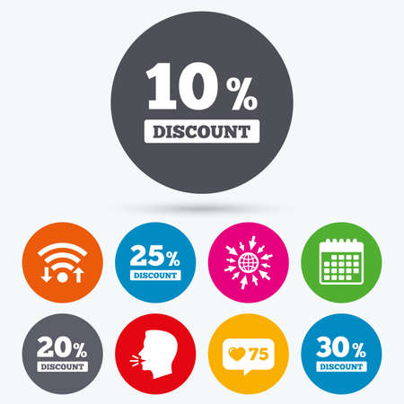 Wifi, like counter and calendar icons. Sale discount icons. Special offer price signs. 10, 20, 25 and 30 percent off reduction symbols. Human talk, go to web. Illustration