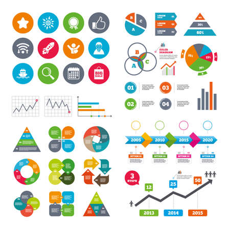 medal like: Wifi, calendar and web icons. Online shopping, e-commerce and business icons. Start up, award and customers like signs. Big sale, shipment and favorite symbols. Diagram charts design. Illustration