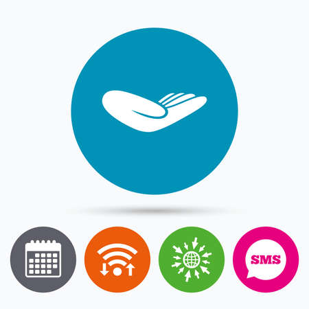endowment: Wifi, Sms and calendar icons. Donation hand sign icon. Charity or endowment symbol. Human helping hand palm. Go to web globe.