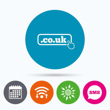 subdomain: Wifi, Sms and calendar icons. Domain CO.UK sign icon. UK internet subdomain symbol with hand pointer. Go to web globe. Illustration