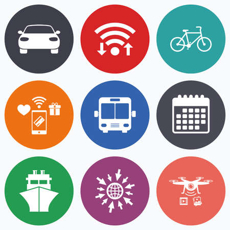button icons: Wifi, mobile payments and drones icons. Transport icons. Car, Bicycle, Public bus and Ship signs. Shipping delivery symbol. Family vehicle sign. Calendar symbol.