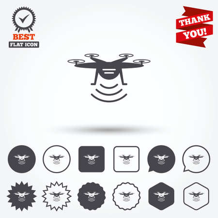 Drone icon. Quadrocopter with remote control symbol. Circle and square buttons. Star labels and award medal. Thank you ribbon.