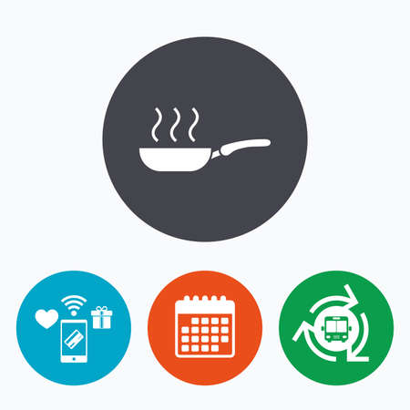 fry: Frying pan sign icon. Fry or roast food symbol. Mobile payments, calendar and wifi icons. Bus shuttle.