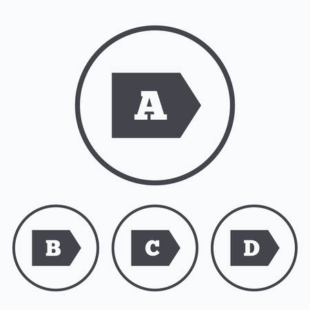 energy classification: Energy efficiency class icons. Energy consumption sign symbols. Class A, B, C and D. Icons in circles. Illustration