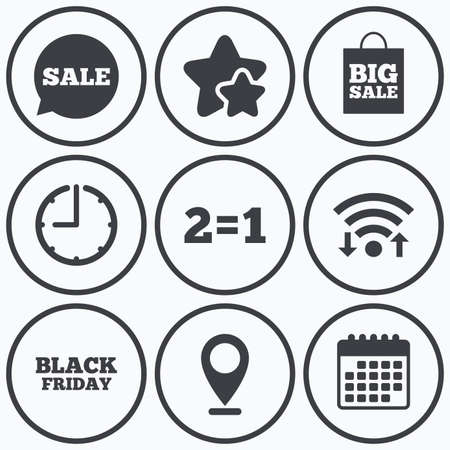 sign equals: Clock, wifi and stars icons. Sale speech bubble icons. Two equals one. Black friday sign. Big sale shopping bag symbol. Calendar symbol.