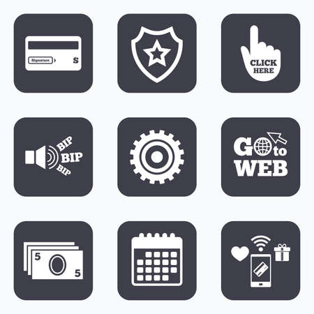 bank withdrawal: Mobile payments, wifi and calendar icons. ATM cash machine withdrawal icons. Insert bank card, click here and check PIN, processing and get cash symbols. Go to web symbol. Illustration