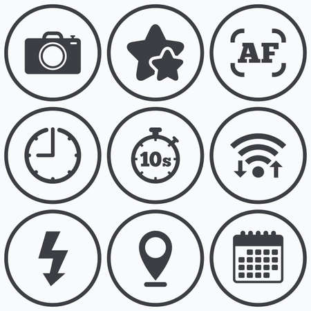autofocus: Clock, wifi and stars icons. Photo camera icon. Flash light and autofocus AF symbols. Stopwatch timer 10 seconds sign. Calendar symbol. Illustration