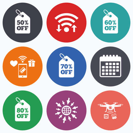 50 to 60: Wifi, mobile payments and drones icons. Sale price tag icons. Discount special offer symbols. 50%, 60%, 70% and 80% percent off signs. Calendar symbol.