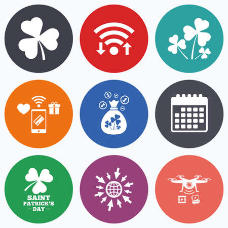 shamrock clover: Wifi, mobile payments and drones icons. Saint Patrick day icons. Money bag with clover and coins sign. Trefoil shamrock clover. Symbol of good luck. Calendar symbol.