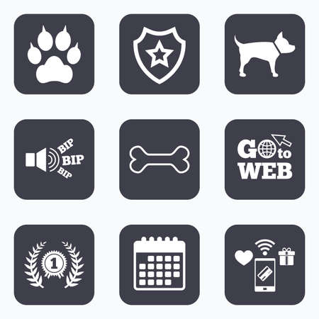 clutches: Mobile payments, wifi and calendar icons. Pets icons. Cat paw with clutches sign. Winner laurel wreath and medal symbol. Pets food. Go to web symbol.